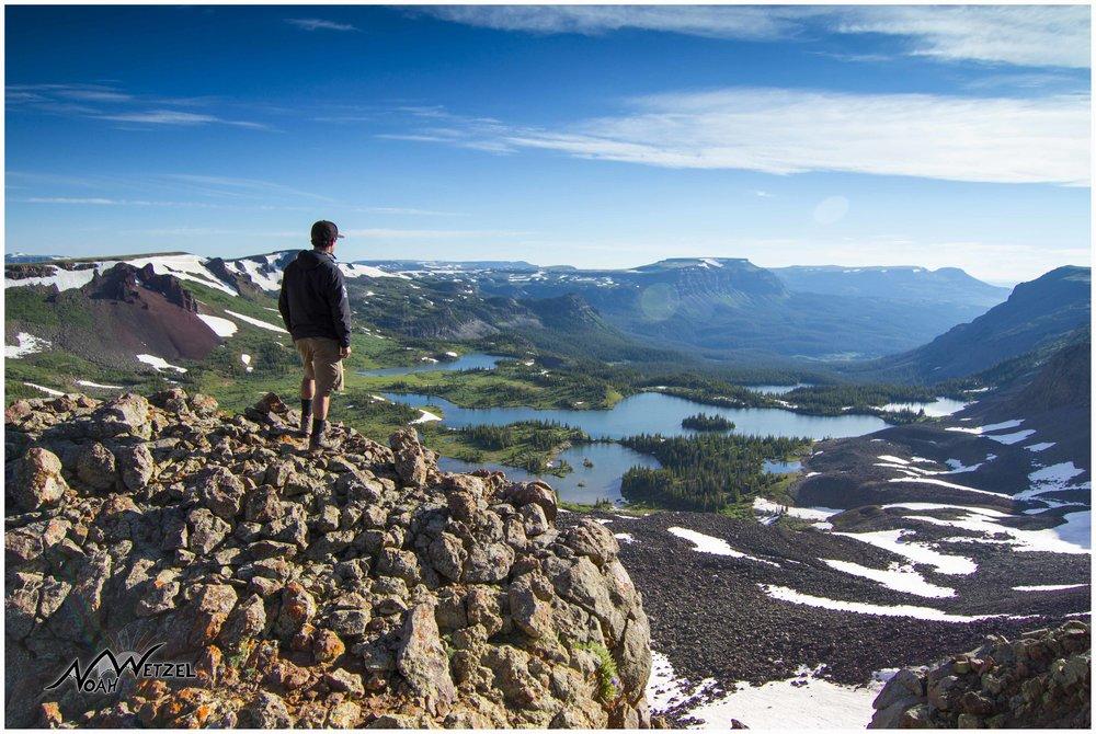 Self portrait overlooking Island Lake in the Flat Tops Wilderness. Colorado