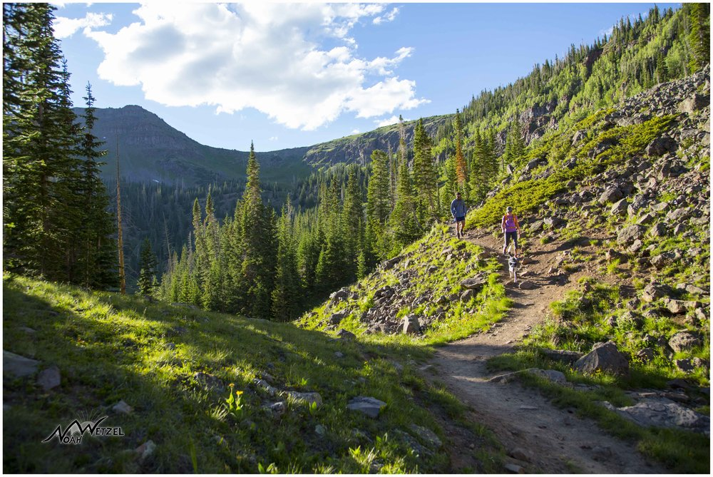 Miranda Schrock and JR Adams hiking in the Flat Tops Wilderness. Colorado