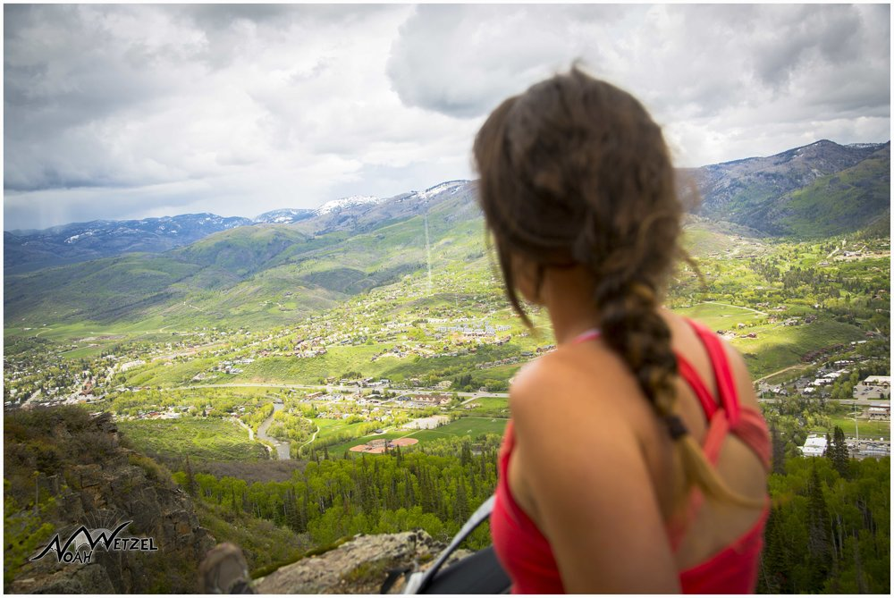 Kelsey McDonough overlooking Steamboat at the Emerald Mountain Quarry