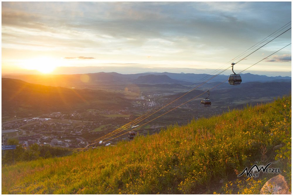 Sunset on Mount Werner. Steamboat Resort. Colorado