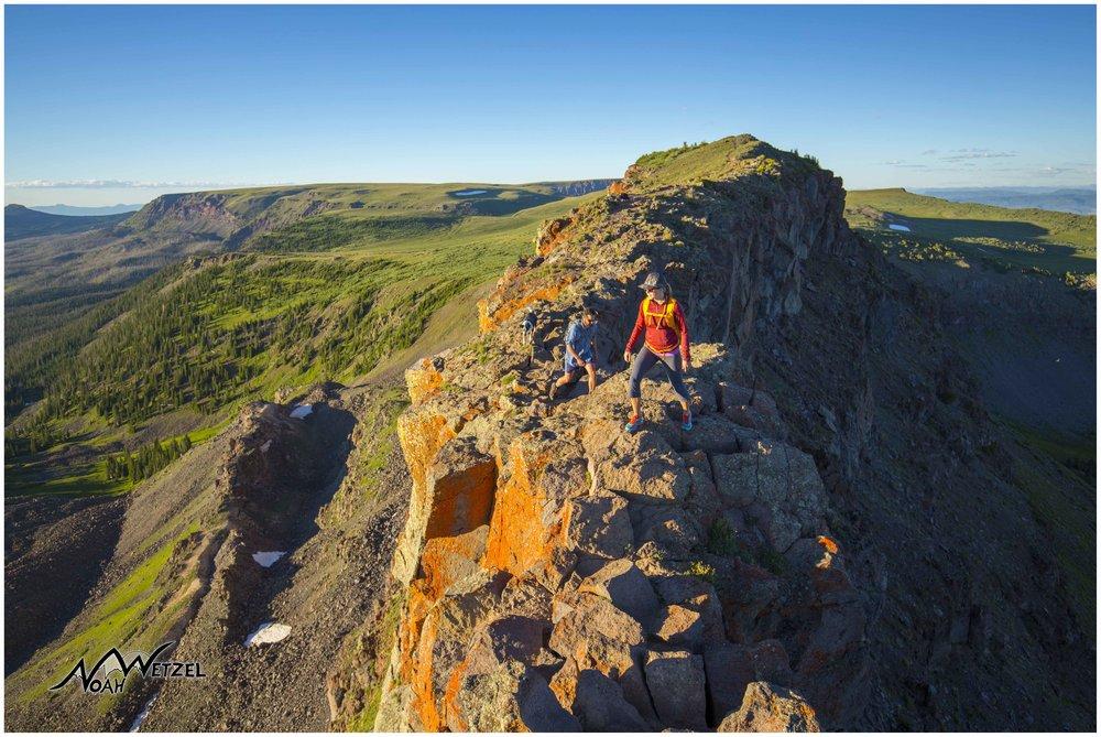 Miranda Schrock and JR Adams cross the Devils Causeway in the Mount Zirkel Wilderness. CO