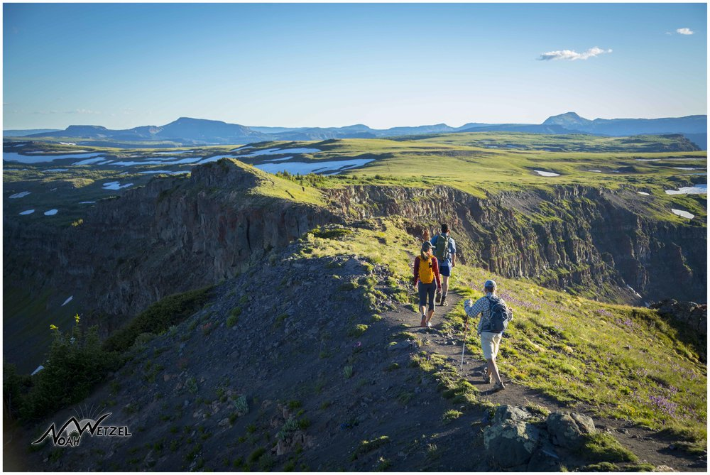 Miranda Schrock, JR Adams, and Jeff Pterka approach the Devils Causeway in the Flat Tops Wilderness. Colorado.