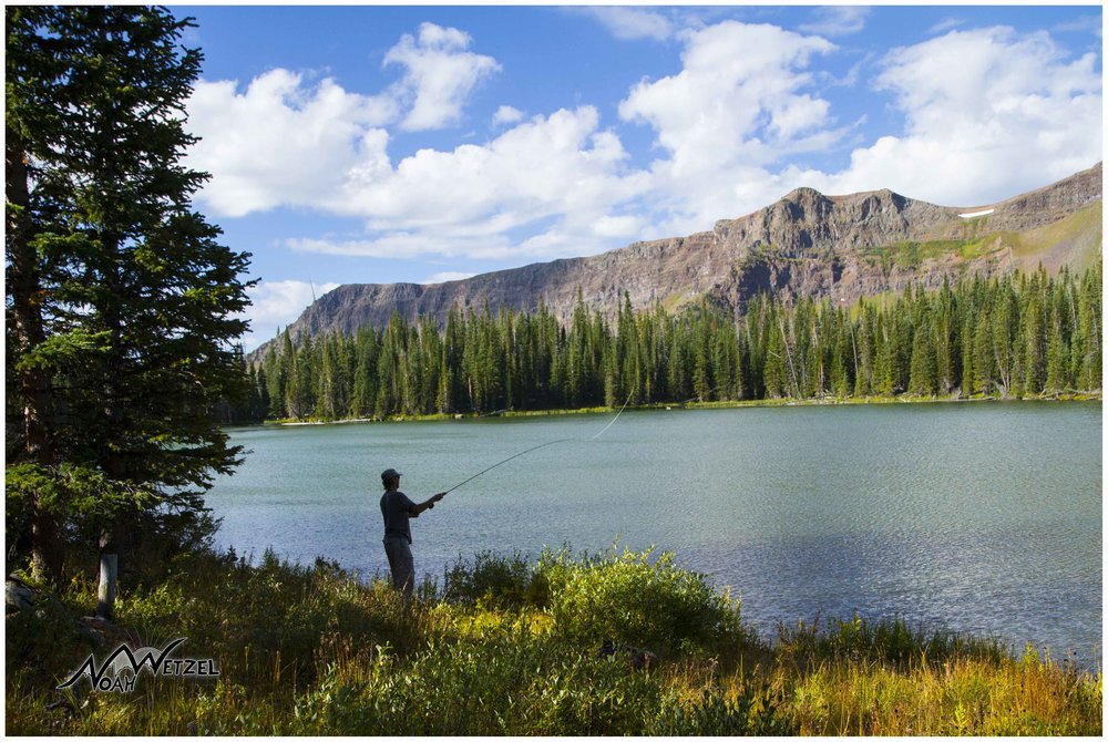 Aryeh Copa wets a line at Black Mandall Lake in the Flat Tops Wilderness of Colorado