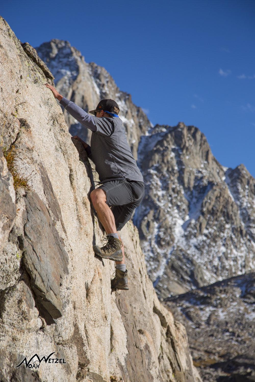 Ben Wetzel enjoying a class 5 scramble at Indian Basin. Wind River Range. Wyoming