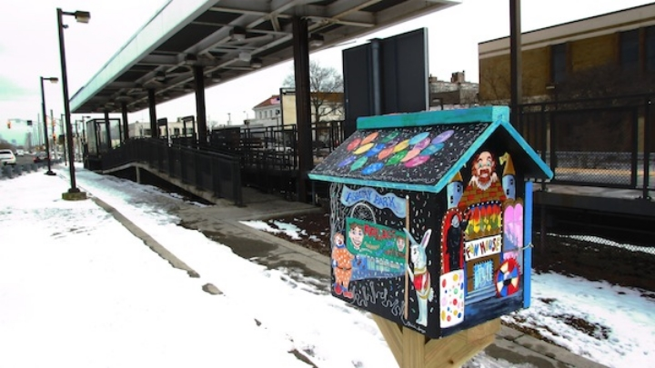 """Little Free Library has big ambitions for literacy & public art,"" Creative Exchange, April 2015 (photo and Little Free Library by artist Patricia Arroyo)"