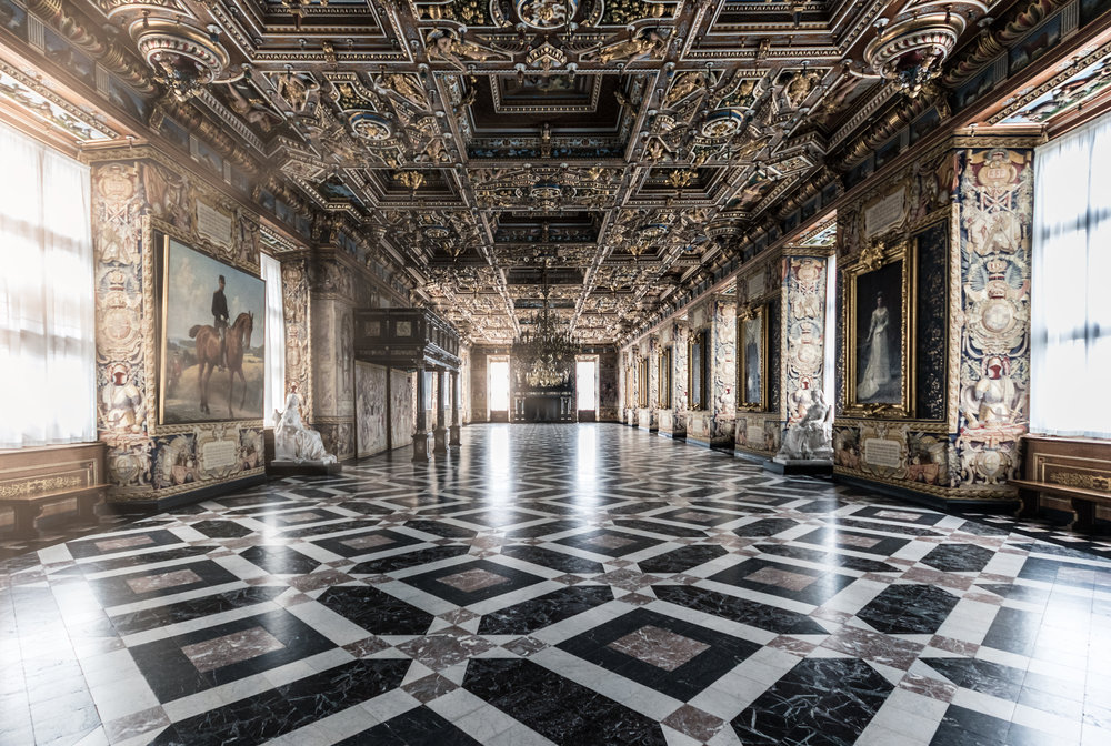 The Great Hall itself, which now houses royal and noble portraits.