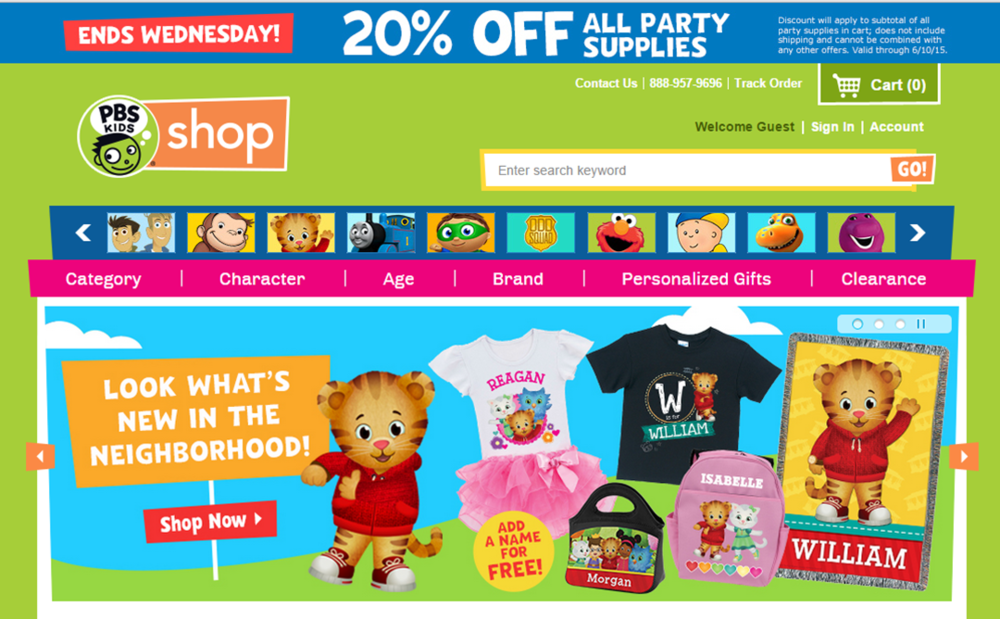 The PBS Shop is a great place to look for your children's favourite character merchandise.