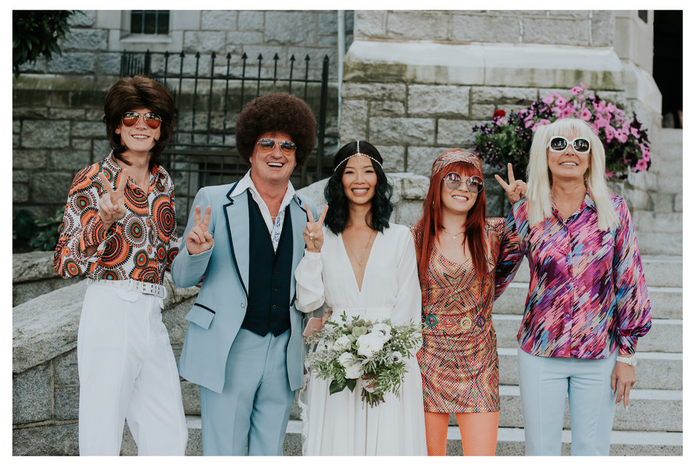 And would it really be a 70's themed wedding if people didn't dress like this?!