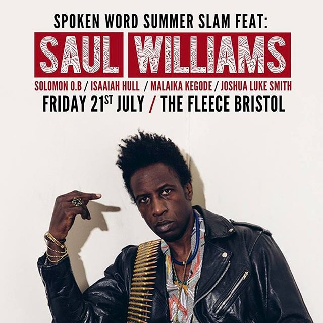 Yo! I have the honour of opening up for SAUL FREAKING WILLIAMS!!! This man has pioneered so much and someone I've admired for years. This is going to be an INCREDIBLE night. Friends, grab a ticket and come down, the line up is 🔥🔥🔥🔥🔥...... can you tell I'm excited?