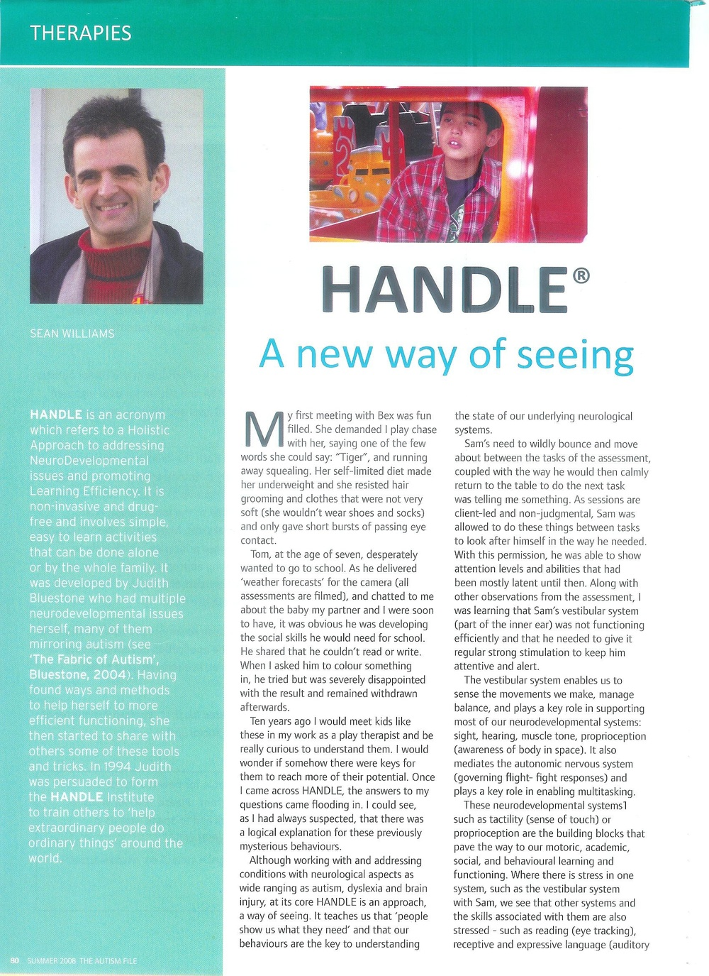 Article by Sean in  Autism File Magazine