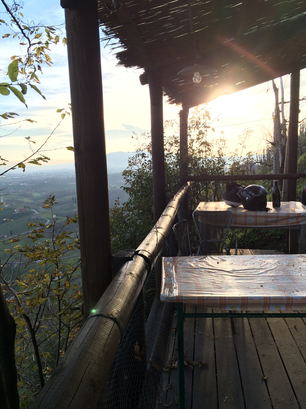 The view over Prosecco Valley at  Osteria Senza Oste - the 'bar without a bartender'.