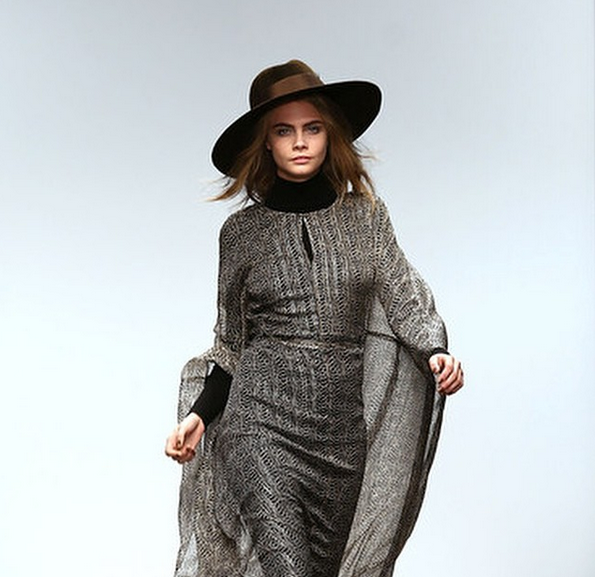 Cara Delevingne doing what she does best at London Fashion Week in our Fedora's for Issa.
