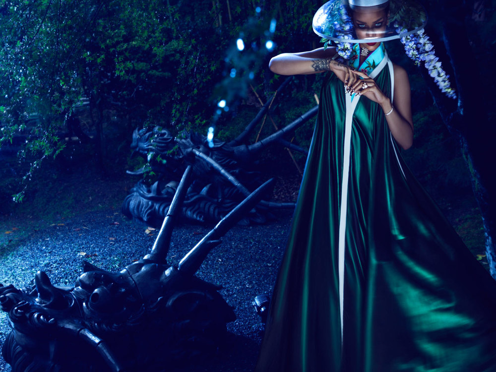 Rihanna in SS'15 'Wisteria Mysteria' for Harper's Bazaar China.