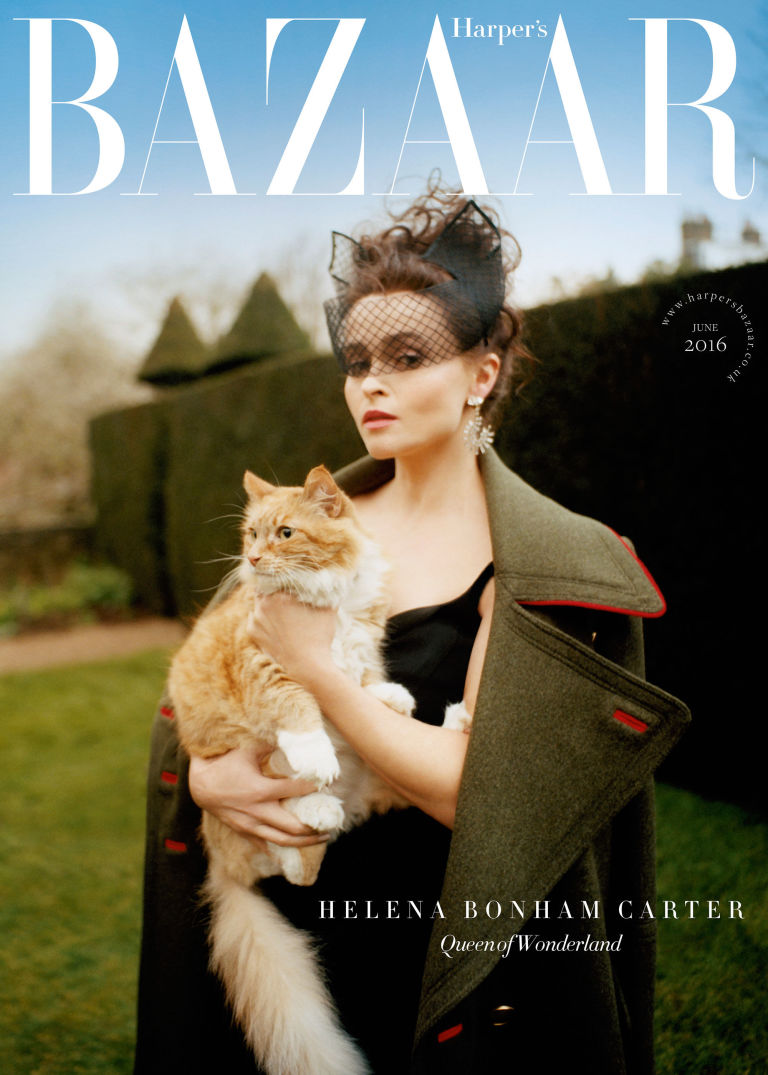 Helena Bonham Carter wearing a Cat Ear Crin Mask on the cover of Harper's Bazaar.