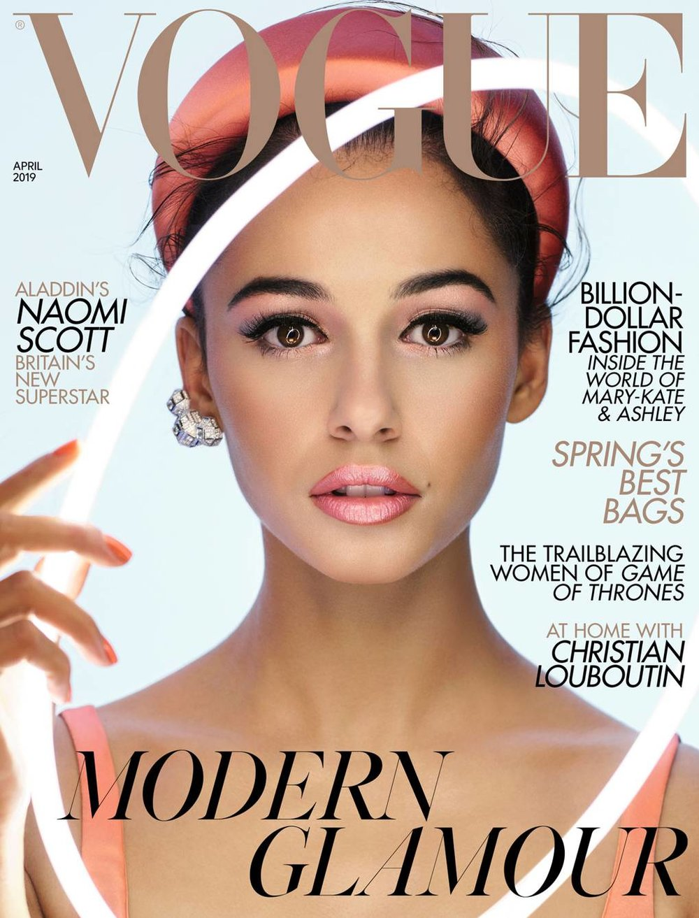 Custom Neon headpiece on the cover of British Vogue.