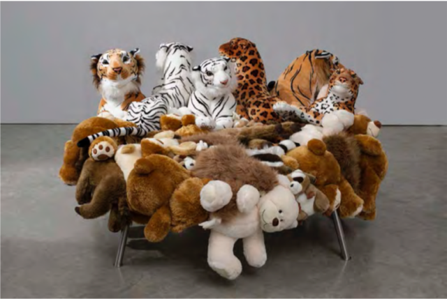 Stuffed Animals Hand Sewn On Canvas Cover Over Brushed Stainless Steel  Structure 55 X 120 X 120 Cm. Edition Of 150