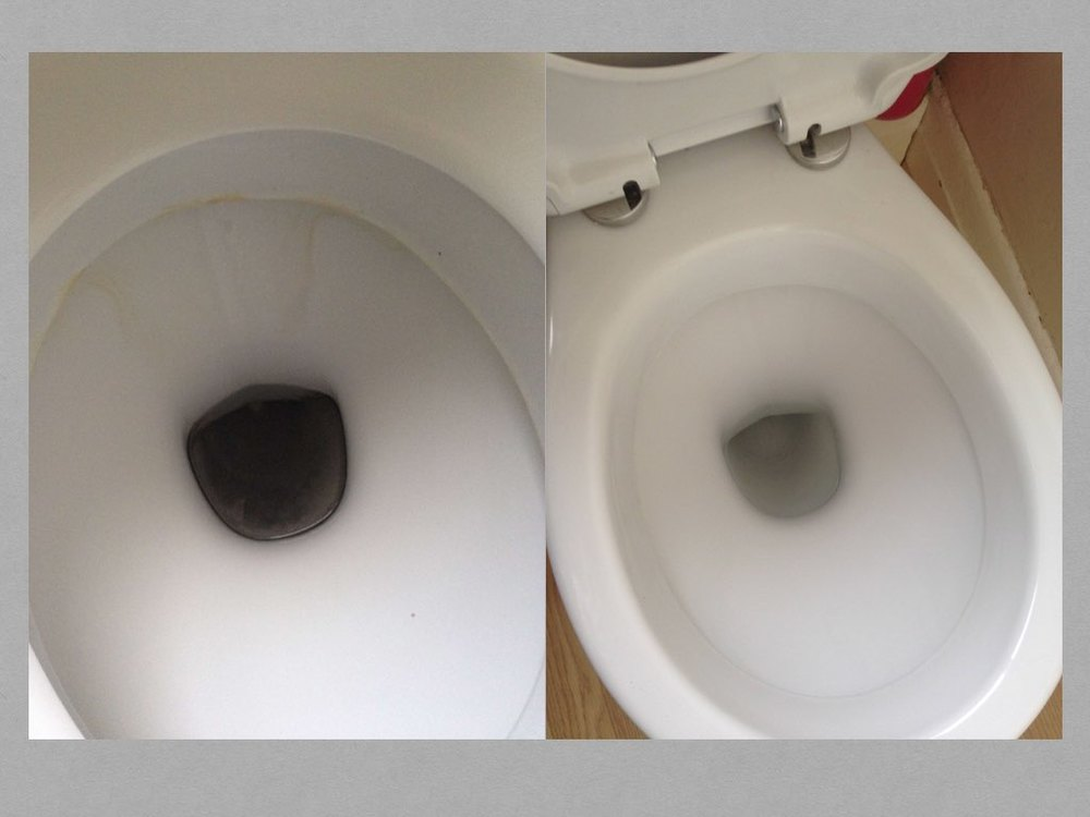 Toilet bowl de-scaled