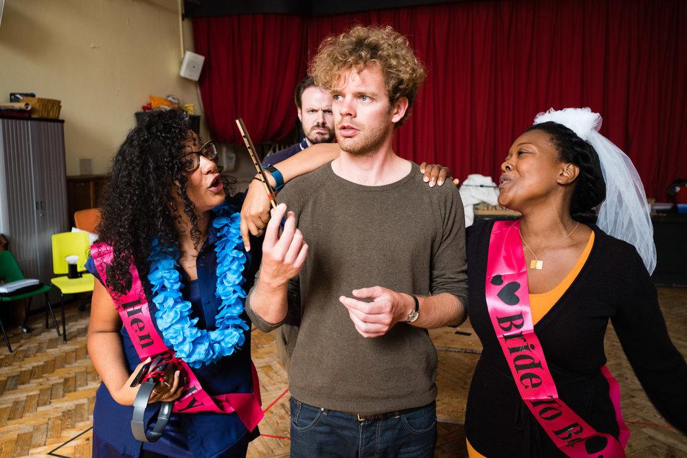 From Left: Felicity Buckland (Papagena), Peter Kirk (Tamino), Abigail Kelly (Pamina)