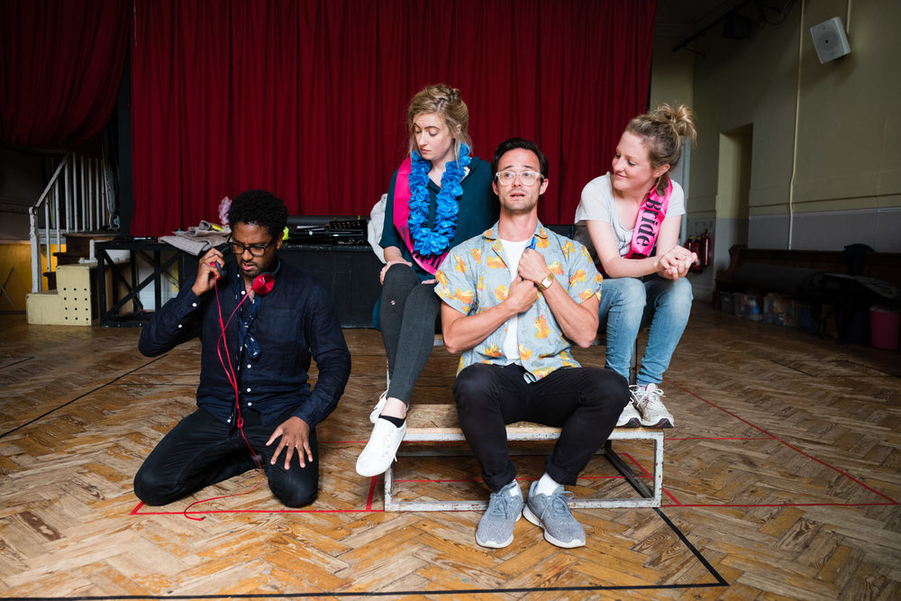 From Left: Abigail Kelly (Pamina), Rosie Middleton (Papagena), Lawrence Olsworth-Peter (Tamino), Susanna Buckle (Pamina)