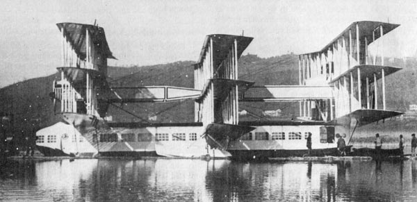 Caproni's Ca 60 experimental flying boat on Lake Maggiore, 1921. Photo via Wikimedia Commons.