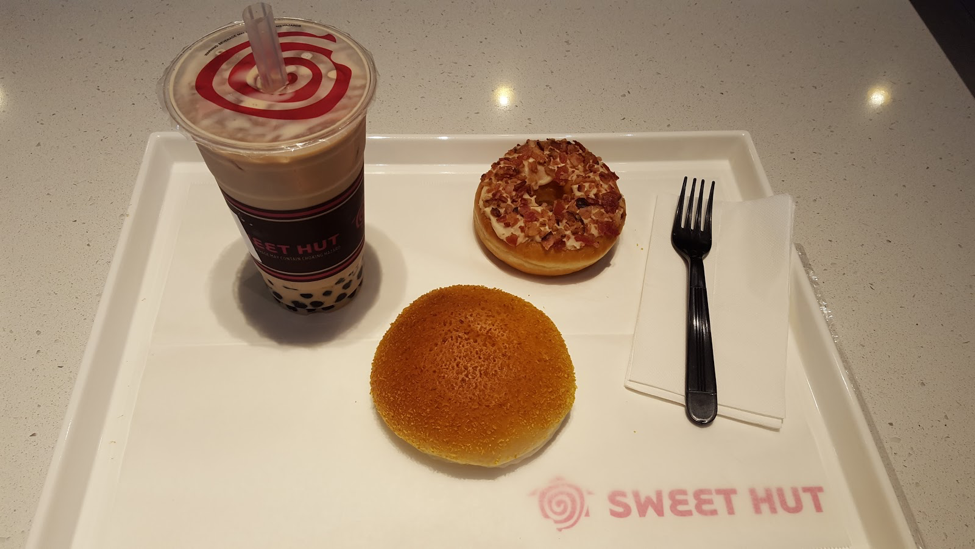 Boba tea, chicken curry bun, and maple bacon donut for less than $15