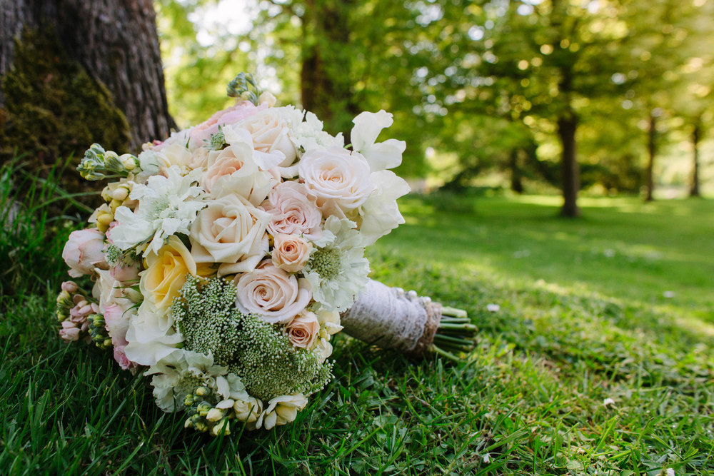 Romantic, summer wedding bouquet in soft blush colours, Nether Winchendon House, Bucks