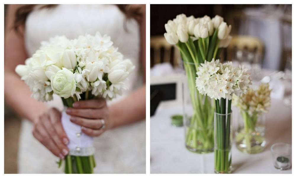 All White Spring Wedding Flowers