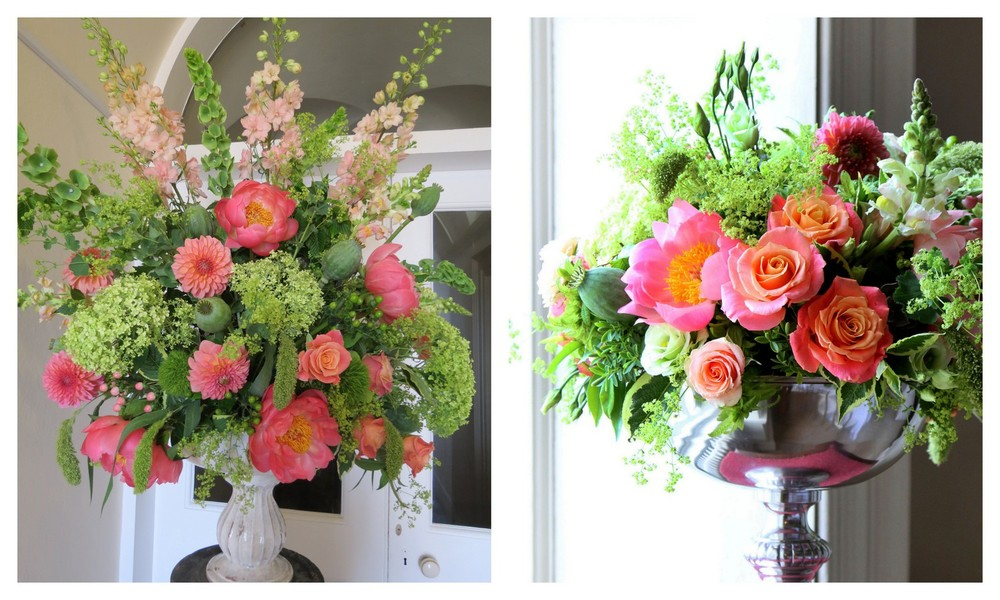 Summer Wedding Flowers in Coral and Green