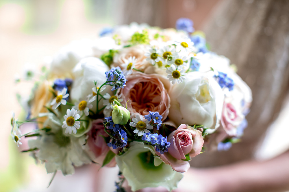 Pretty cream, peach and blue bridal bouquet, Huntsmill Farm, Bucks