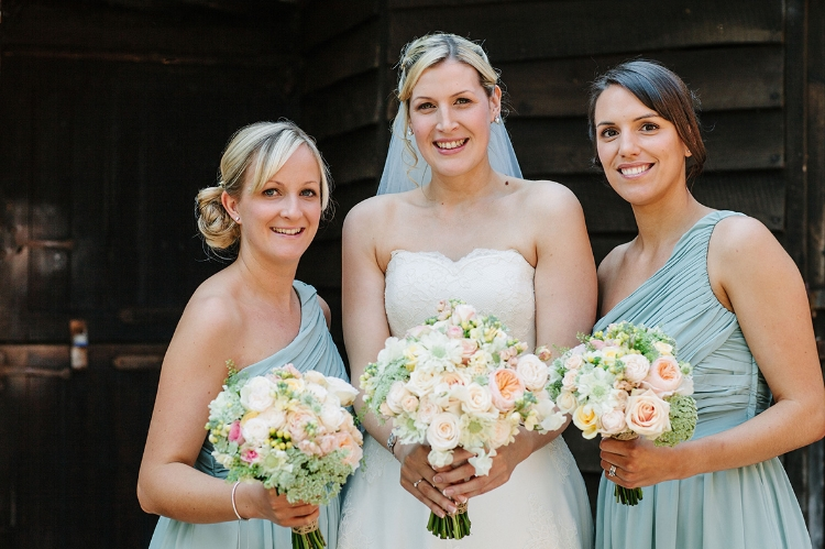 Romantic wedding flowers in blush colours, Nether Winchendon House, Bucks