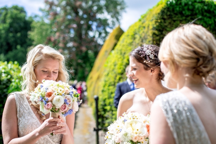 Summer wedding bouquet in pastel pink, peach, cream and blue, Huntsmill farm, Bucks