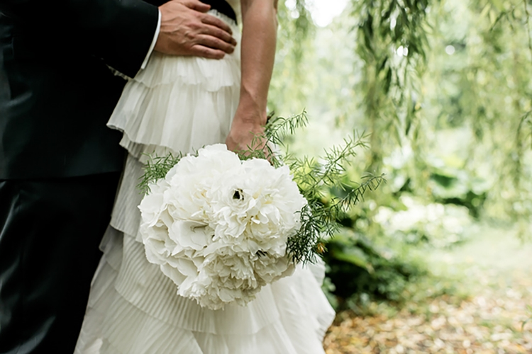 White summer wedding bouquet with hydrangeas & peonies, The Dairy. Waddesdon Manor, Bucks