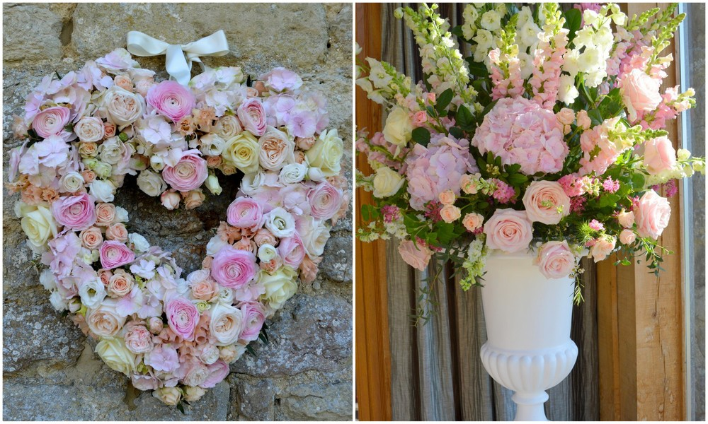 Pale pink & White Spring Wedding Flowers at Notley Tythe Barn