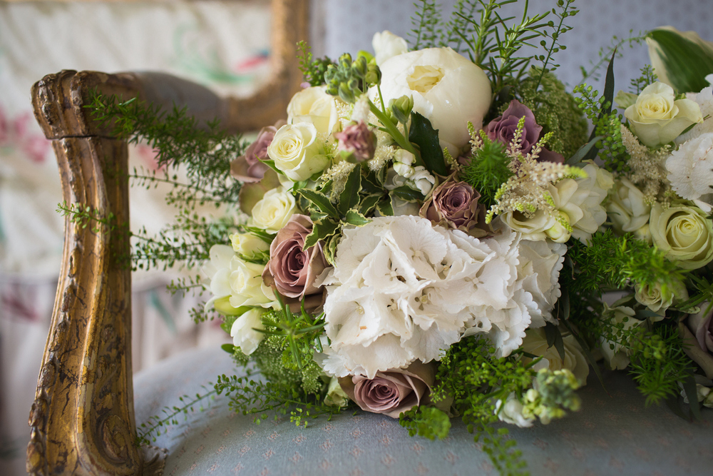 Hydrangea, Peony & Vintage Rose Spring wedding bouquet, Hartwell House, Buckinghamshire