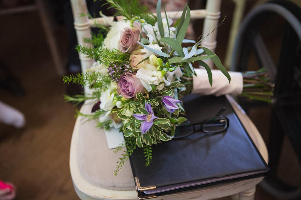 White & Lilac Spring Wedding Bouquet, cicvil ceremony Dorton House, Buckinghamshire