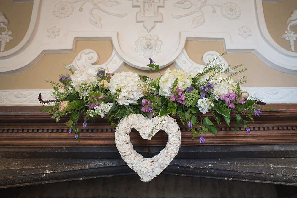 Floral mantle display, Dorton House, Buckinghamshire