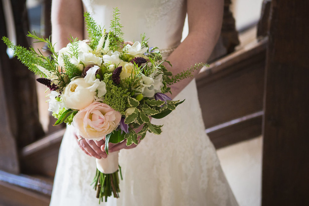 spring wedding bouquet with soft pink peonies, white sweet peas and lilac roses, Dorton House, Bucks