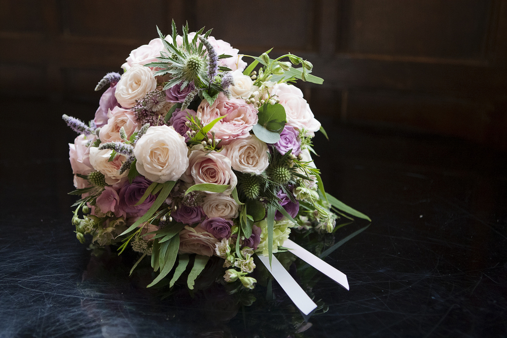 Lilac & Grey summer wedding bouquet at Dorton House, Buckinghamshire