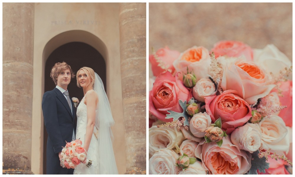 Summer wedding flowers with Garden Romantic & Juliette roses at Courteenhall, Northamptonshire