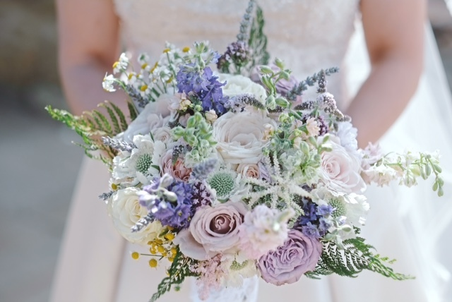 Loose, relaxed country style summer wedding bouquet, Dodford Manor, Northamptonshire