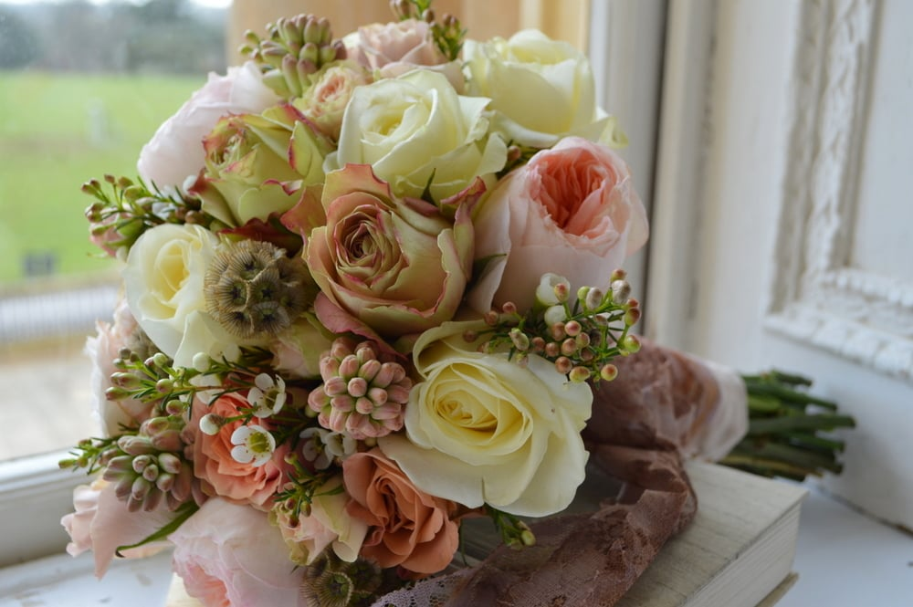 Peach, cream & blush bridal bouquet
