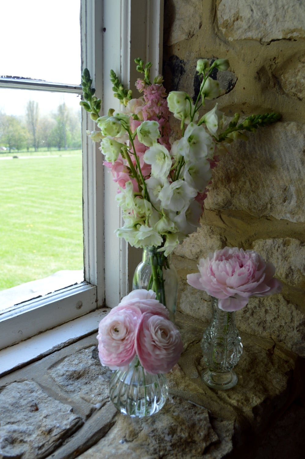Spring bud vases at Notley Thythe Barn