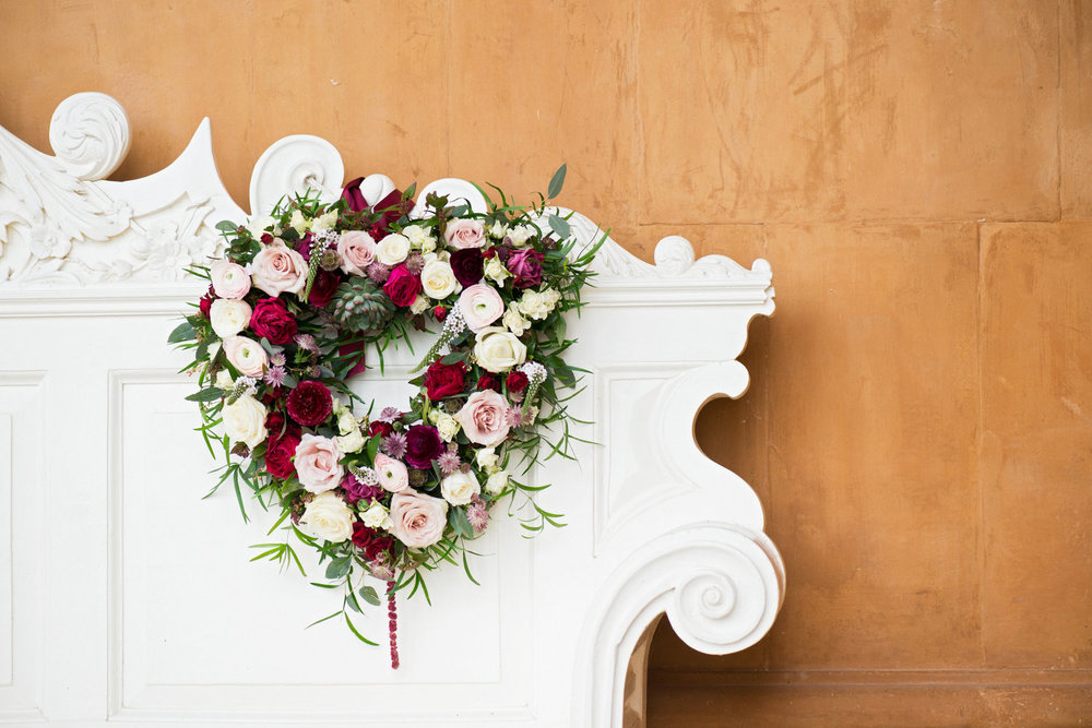 Floral Heart in Blush & Burgundy at Stowe House, Bucks