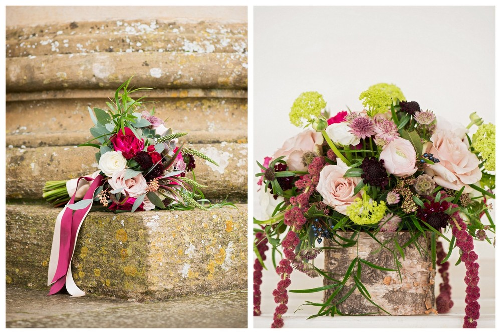 Burgundy & Blush winter wedding flowers at Stowe House, Bucks
