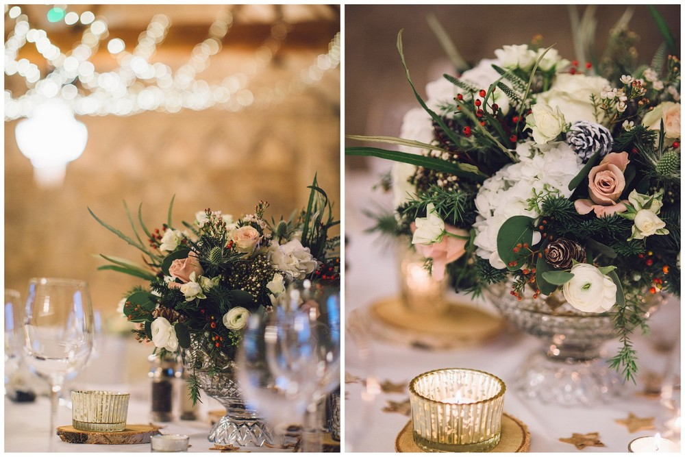 Christmas wedding flowers in white & blush at Notedly Abbey, Bucks