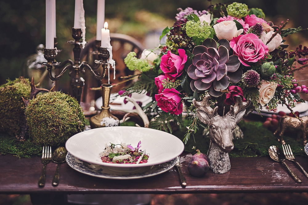 Autumn Tablecentre with Cerise roses, succulents & Viburnum Opulus