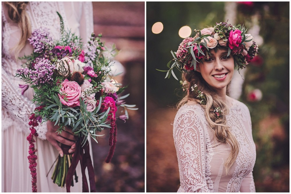 Boho style Floral Crown & Bridal Bouquet