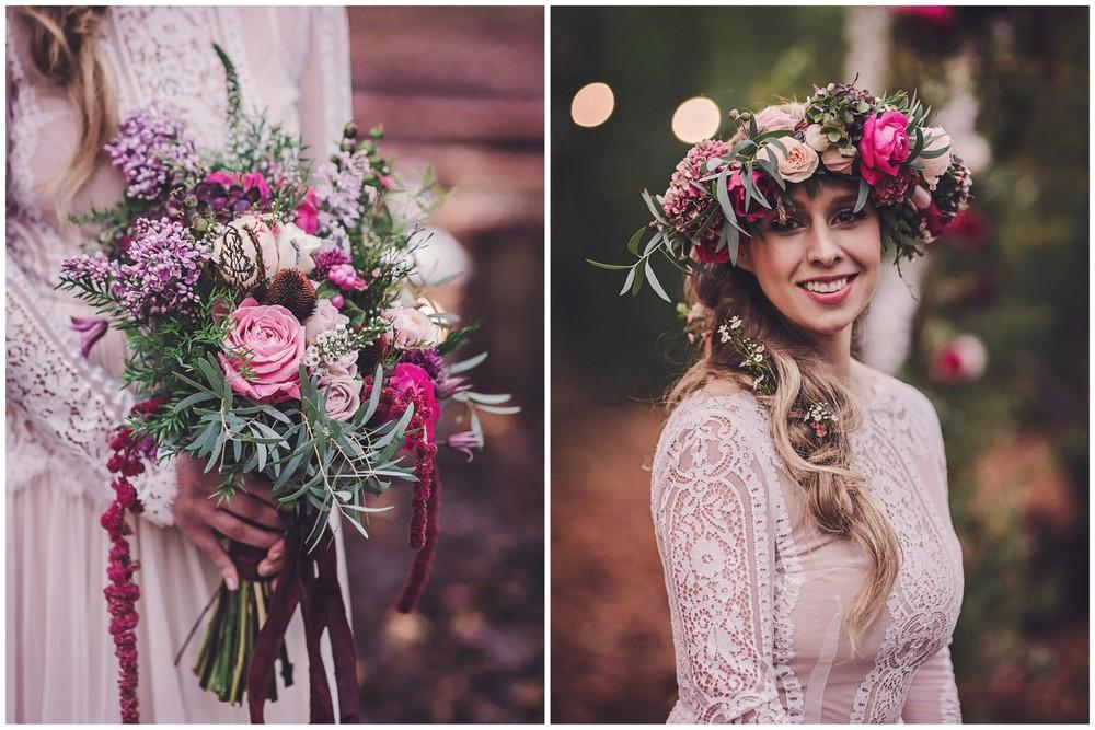 Boho style Floral Crown & Bridal Bouquet