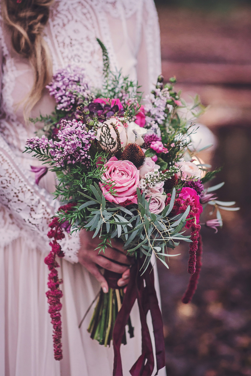 Boho style bridal bouquet in lilac, peach and claret