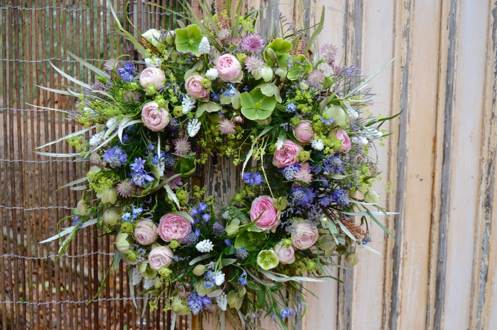 Floral spring door wreath